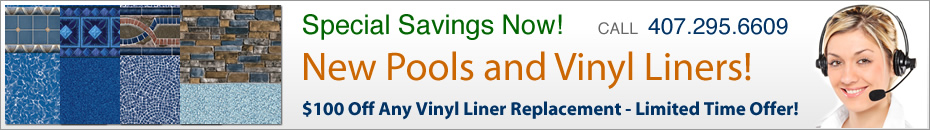 Vinyl liner replacement and the best vinyl liner swimming pools in Orlando, FL.
